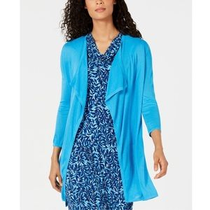 KASPER BLUE 3/4 SLEEVE OPEN CARDIGAN M OCEAN BLUE